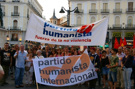 El Partido Humanista participa en la manifestación por el cese de la violencia en Palestina